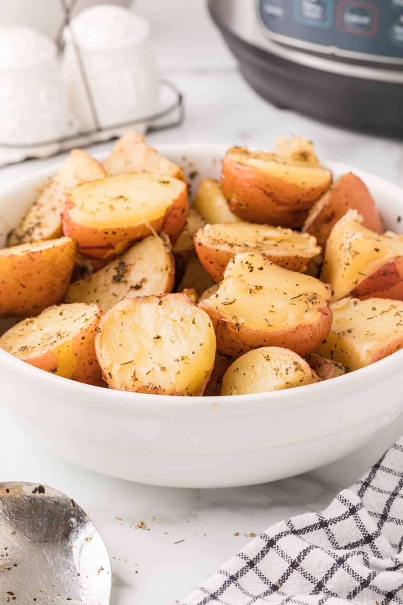 cooked red potatoes in a bowl