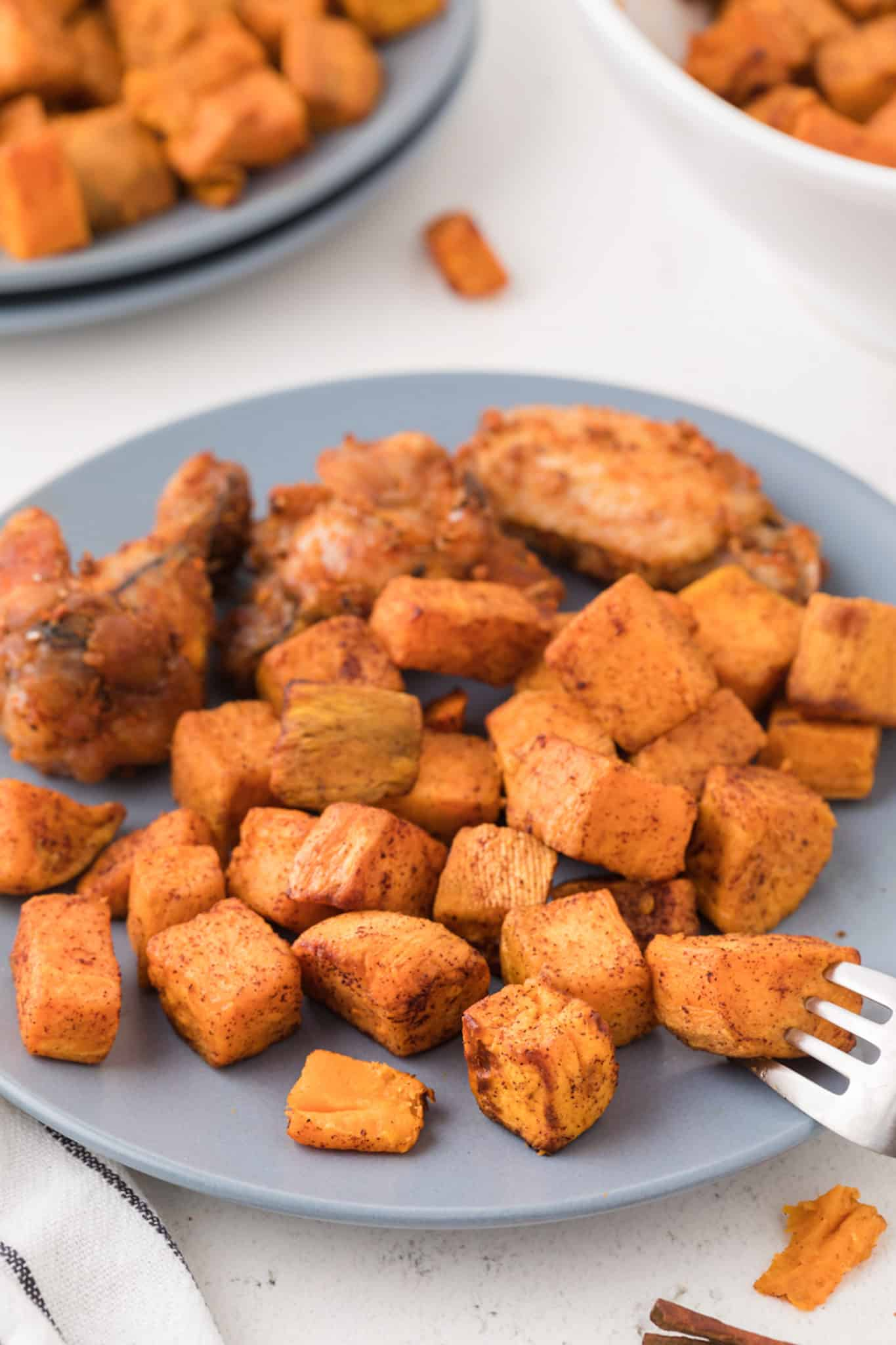 bowl of cooked sweet potato cubes