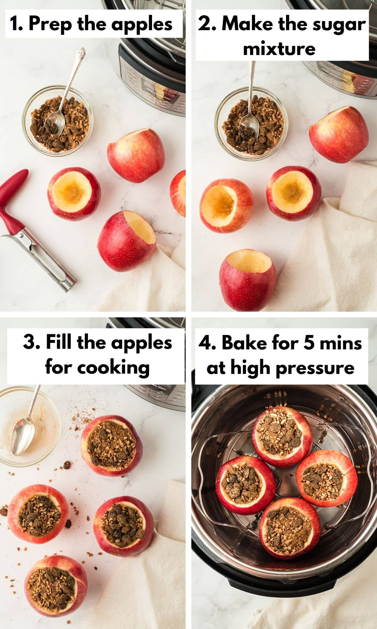 process photos for making instant pot baked apples