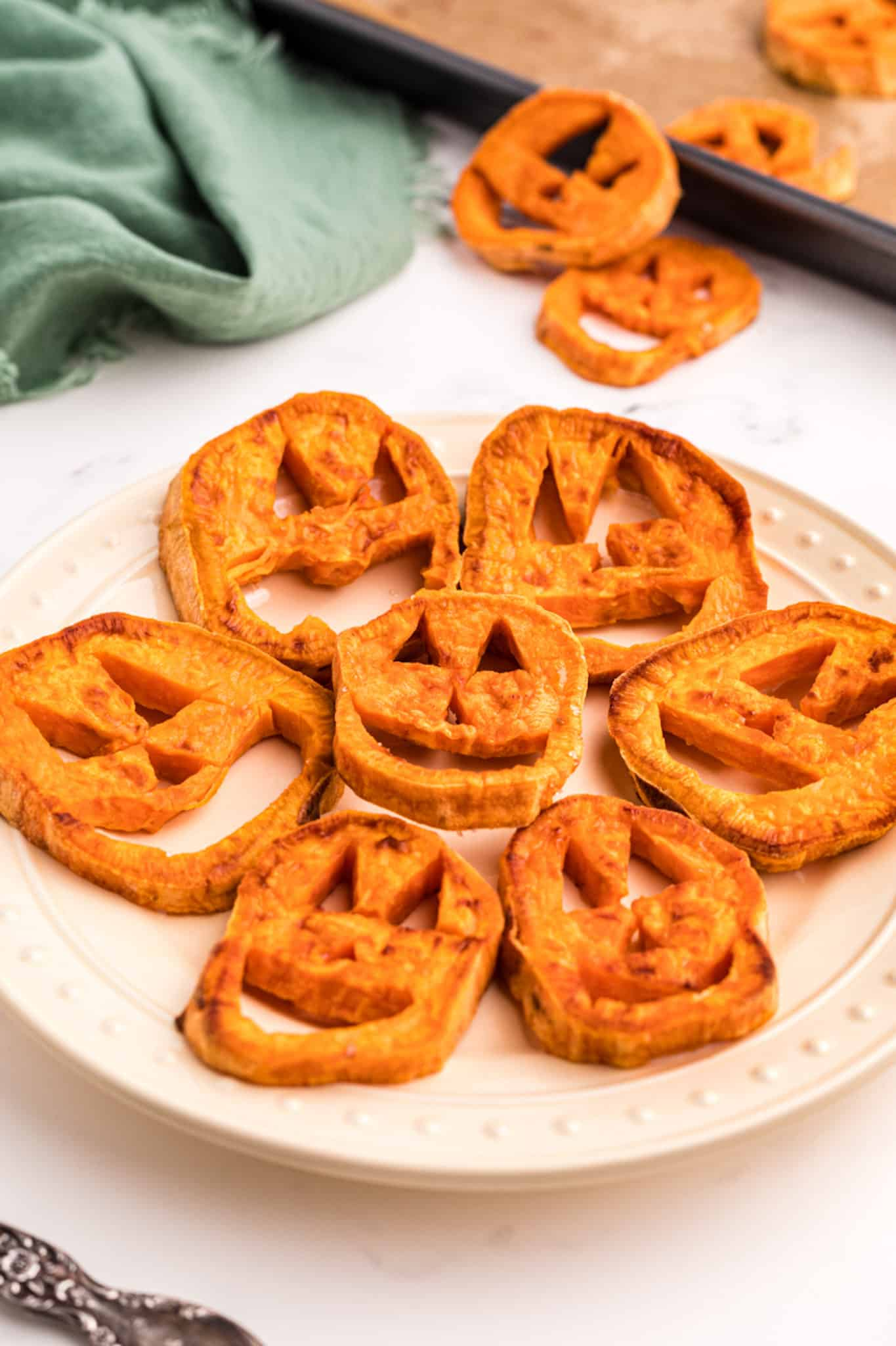 sweet potato shaped into jack o lanterns