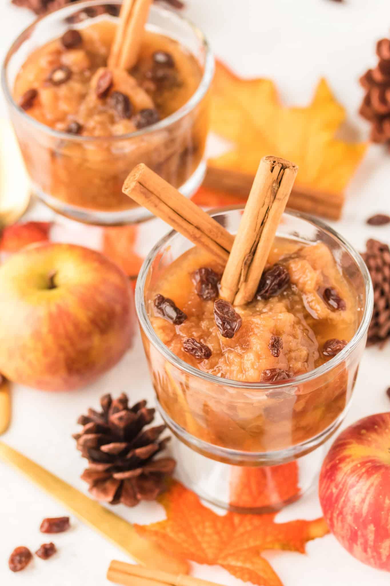 applesauce served in parfait glasses