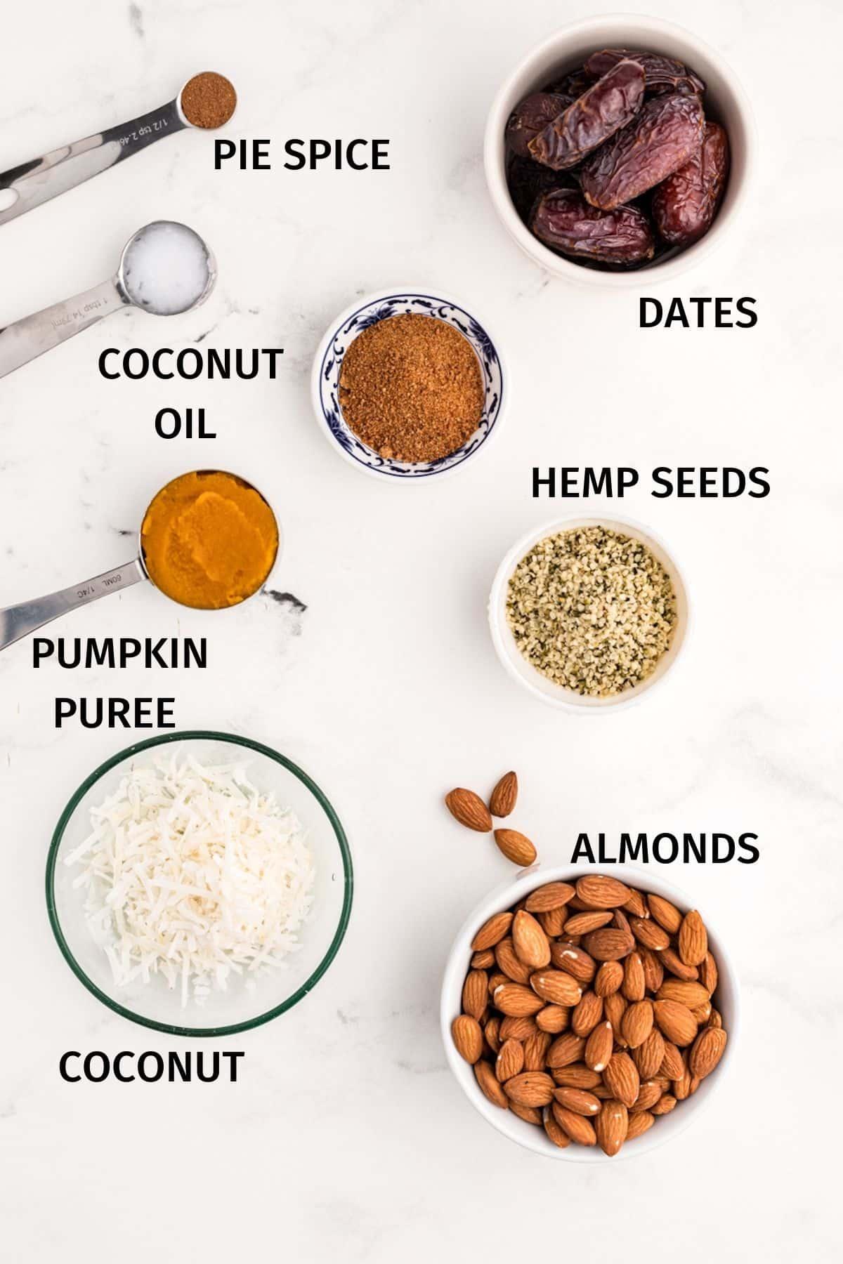 INGREDIENTS FOR pumpkin no bake cookies
