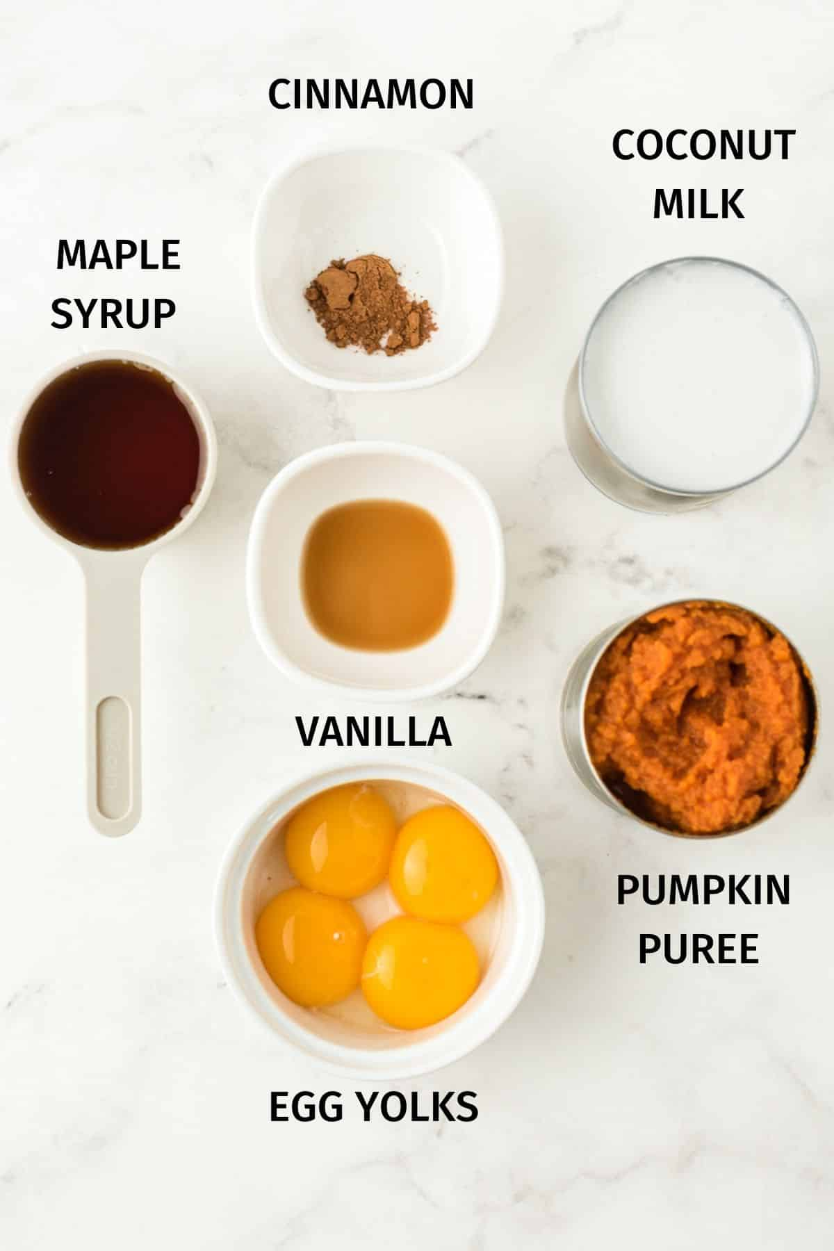 PHOTO WITH labeled ingredients for dairy free pumpkin pudding