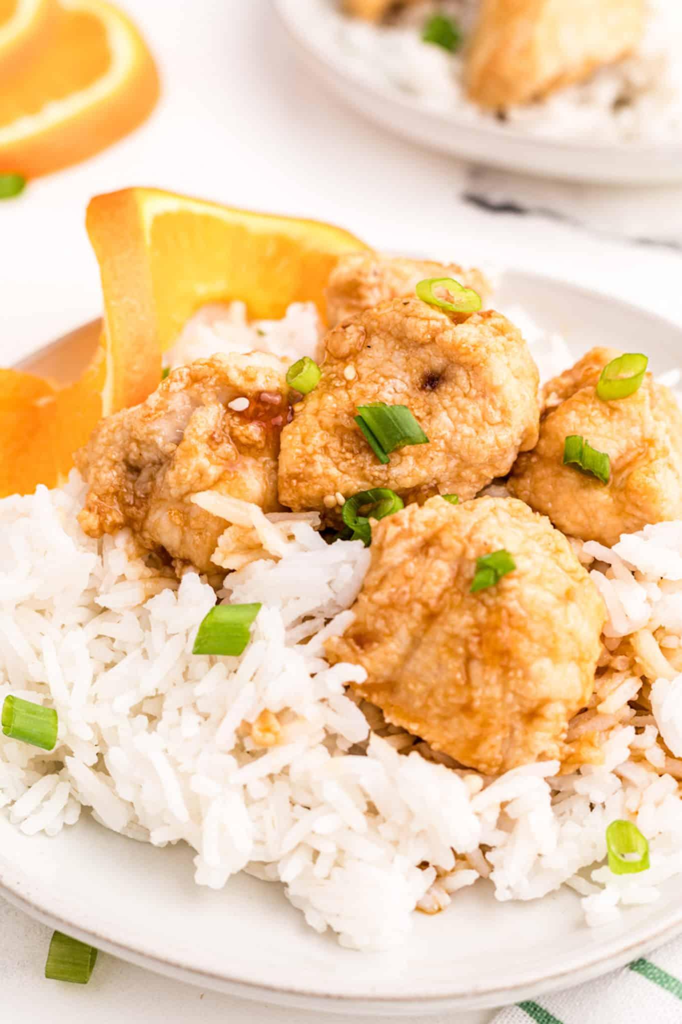orange chicken with rice