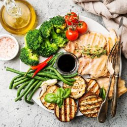 chicken dinner with roasted vegetables