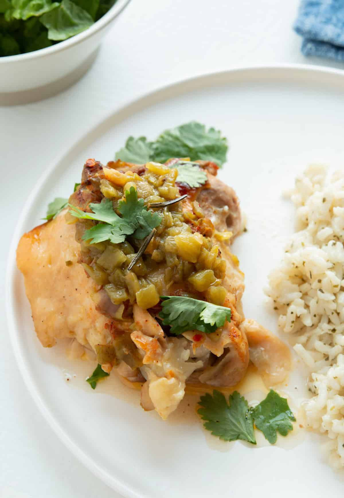 green chile chicken topped with cilantro