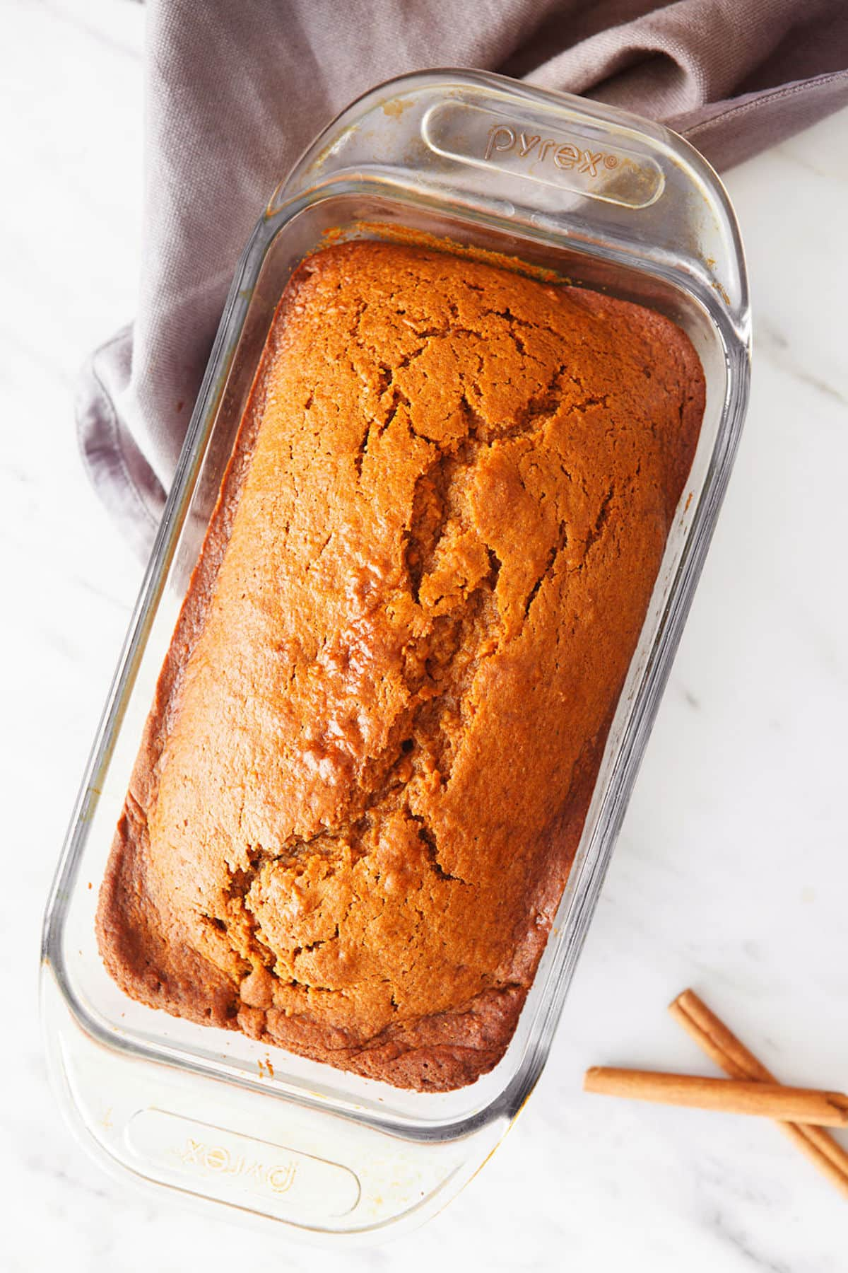 baking dish with cooked sweet potato bread