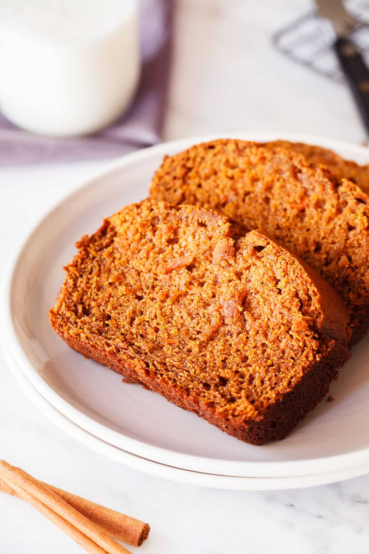 two slices of sweet potato bread on a plate