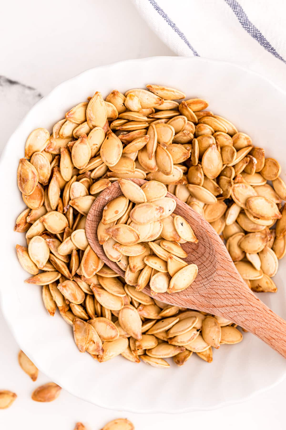 bowl of toasted pumpkin seeds