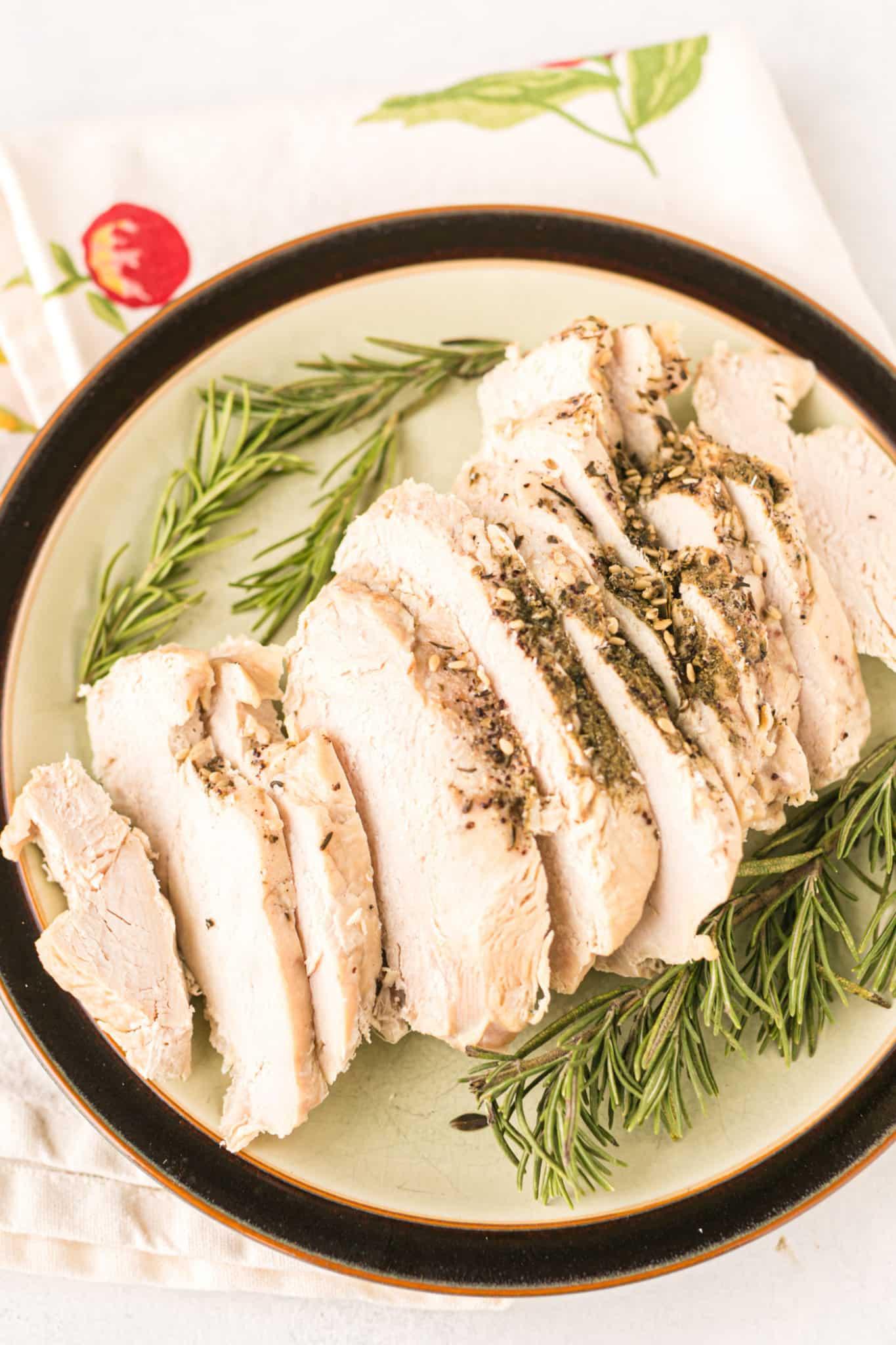 sliced boneless turkey breast on a plate