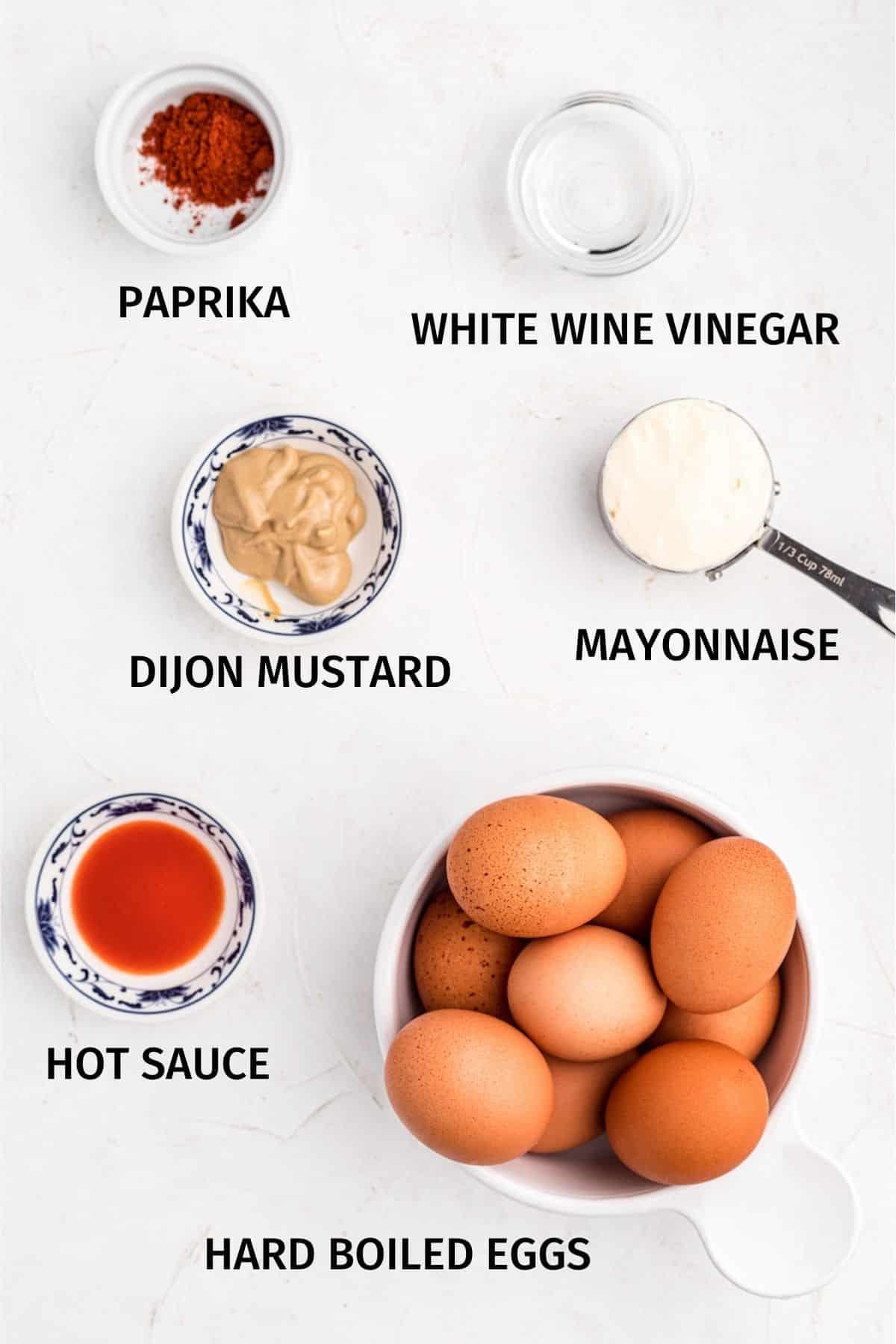 Ingredients for keto deviled eggs
