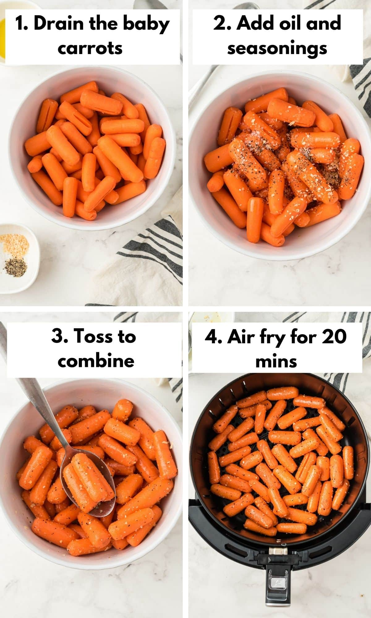 labeled process photo for air fryer carrots