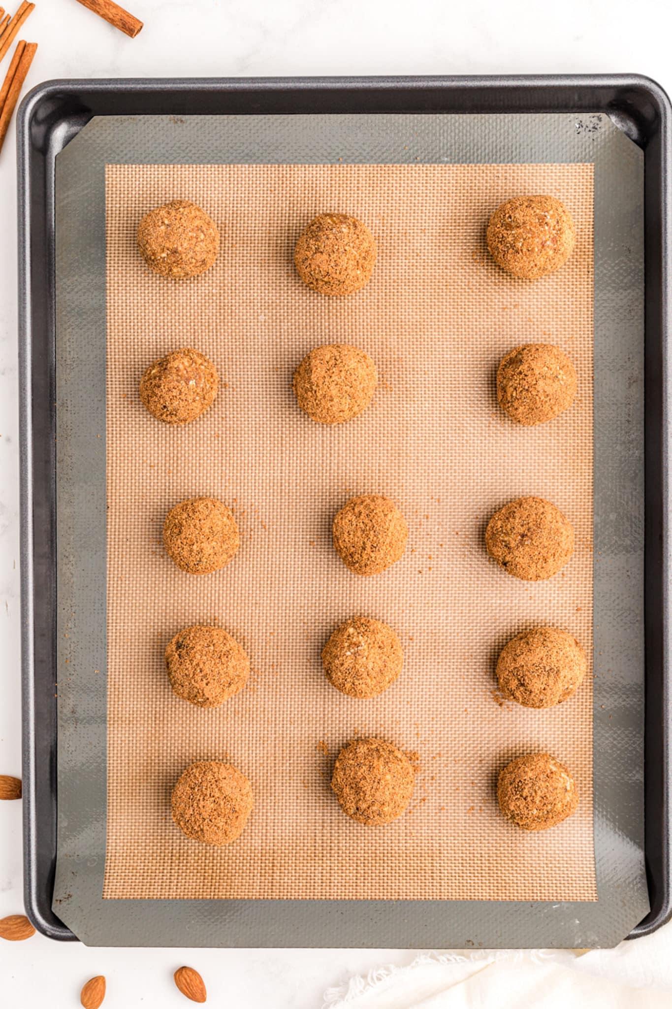 pumpkin no bake cookies on a baking sheet